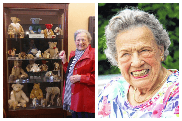 Photograph collage of two photos. One photo shows Jean Wilson Reed standing next to a display case of Steiff bears. The other photo is a close up photo of Jean Wilson Reed.