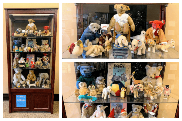 Photograph collage of three photos. One photo shows an entire display case of Steiff toys, mostly bears. The other two photos are close ups of some shelves of the same display case.