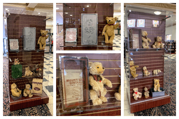 Photograph collage of four photos. One photo shows an entire display case with some large Steiff bears and books. Two photos show a close up of bears. The last photo is of the backside of the same display case, also containing Steiff bears.