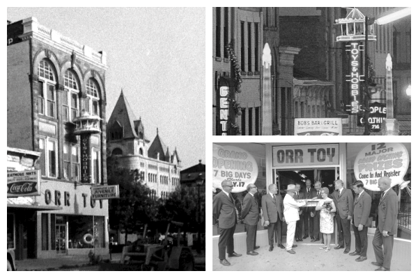 Photograph collage of three photos. All photos are black and white photos of the Orr Toy and Novelty Store. One is of the last building the store was in. Another features the carousel sign and the last photo is of the store's grand opening.