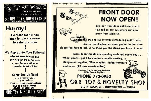 Collage of two newspaper ads for the Orr Toy and Novelty Store. Both ads are announcing the store reopening after remodeling.