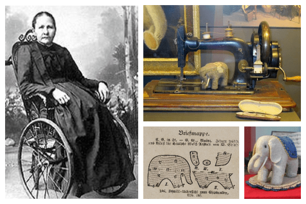 Photograph collage of four images. The first is a photograph of Margarete Steiff as an adult in her wheelchair. The second photo shows a sewing machine. There is an image showing the pattern for the elephant pin cushion. The final image is a photograph of the elephant pin cushion.
