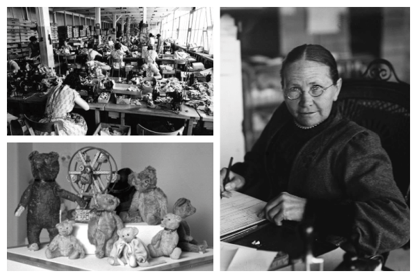 Photograph collage of three photos. The first photo shows the Steiff factory in full production. Another photo shows half a dozen early Steiff teddy bears. The final photo shows Margarete Steiff working on a design for new toys.