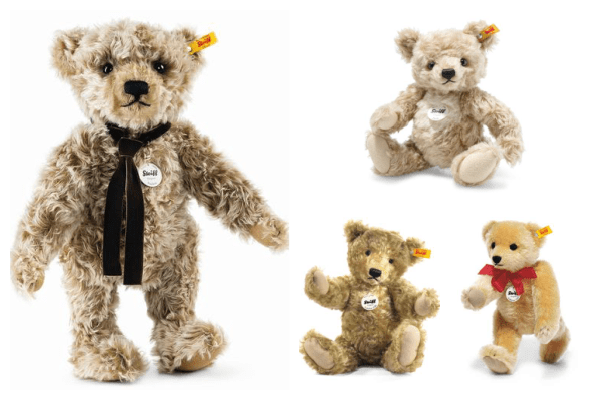 Photograph collage of four photos. Each photo is of a Steiff bear on a white background. Two of the bears have bows around their necks. All bears have a Steiff tag in their ear.