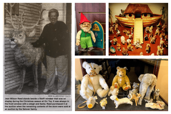 Photograph collage of four photos. One photo is a newspaper clipping showing Jean Wilson Reed standing next to a life size Steiff reindeer. Another photo is a close up of a Steiff gnome doll. There is a larger photo of a shelf of Steiff animals, which includes an elephant. The fourth photo is of the Steiff ark with the small Steiff animals around it.