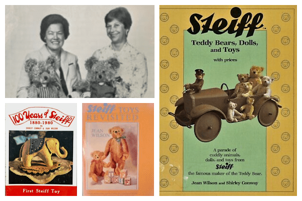Photo collage of four photos. One photo shows Jean Wilson Reed and her co-author, Shirley Conway, each holding Steiff bears. The other three photos are the cover of the Steiff books written by Wilson and Conway.