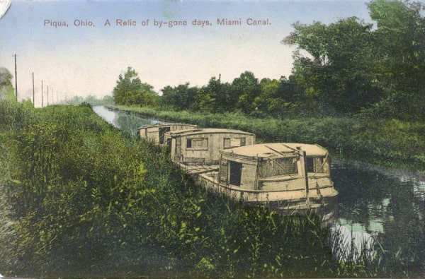 Piqua Historical Postcard Canal Boat